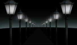Lighted pathway Stock Photo