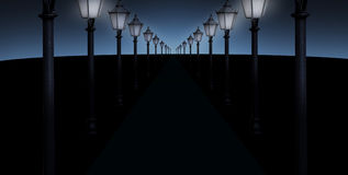 Lighted pathway stock photos