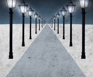 Lighted pathway. Pathway with many streetlights in retro look design Royalty Free Stock Photography