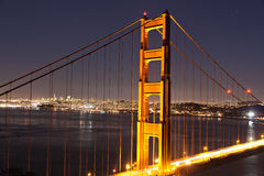 Lighted pylon of Golden Gate bridge Stock Image
