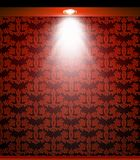 Lighted red seamless wall with lamp. Vector Stock Image