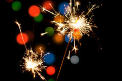 Lighted sparklers. Stock Photo