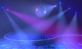 Lighted stage with discoball. Empty open stage with mirror ball, lights and stars above blue tiled floor. 3d render Royalty Free Stock Images