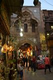 Lighted Street Bazaar and Stores in Cairo, Egypt royalty free stock photos