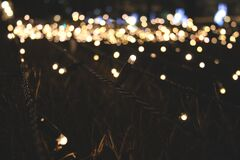 Lighted String Lights Royalty Free Stock Image