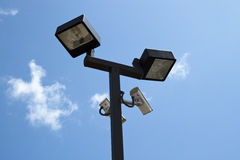 Lighted Surveillance Cameras Stock Photography