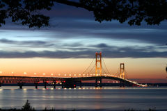 Lighted Suspension Bridge. The Mackinaw Bridge connecting the Upper and Lower Peninsula's in Michigan royalty free stock image