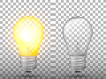 Lighted and switched off light bulb on a transparent background. Vector illustration Royalty Free Stock Image