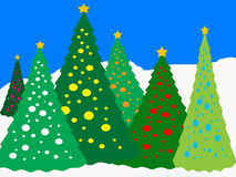 Lighted Trees ikn the Snow Royalty Free Stock Photography