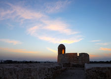 Lighted watch tower of Bahrain fort Stock Photo
