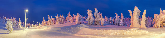 Lighted winter road in the countryside stock image