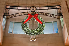 Lighted Wreath in Reston Town Center Royalty Free Stock Photo