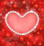 Lighten background with heart made in pearls for Valentine Day, Stock Image