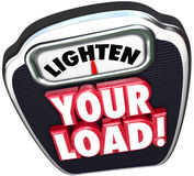 Lighten Your Load 3d Words Scale Reduce Workload Stock Image