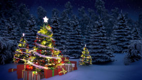 Lightened christmas trees and gift boxes Stock Image