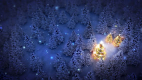 Lightened christmas trees in pine woods. Lightened christmas trees surrounded by snow-covered pine trees at night stock illustration