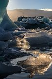 Lightened icebergs in Glacier Lagoon royalty free stock images