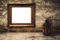 Lightened Lantern style Arab or Morocco with Wooden frame Stock Image