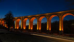 Lightened Viaduct by night royalty free stock images