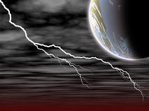 Lightening. Illustration of striking lightenings in the sky Stock Illustration