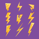 Lightening Bolt Set Royalty Free Stock Images