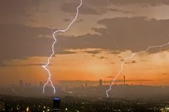 Lightening bolts in city Royalty Free Stock Image