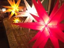 Lightening Christmas decoration stars. Lightening Christmas decoration Moravian stars Stock Photos