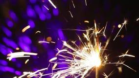 Lightening Christmas sparkler stock footage