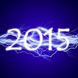 2015, lightening effect. On blue background vector illustration