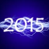 2015, lightening effect. On blue background Vector Illustration