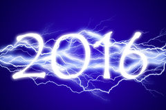 2016, lightening effect. On blue background Stock Photography