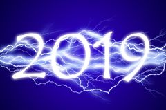 2019, lightening effect. On blue night sky background vector illustration