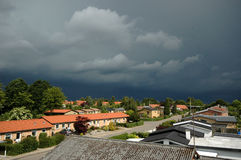 Lightening front over town royalty free stock image