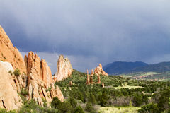 Lightening at The Garden of the Gods. Lightening near The Garden of the Gods in Colorado Springs, Colorado Stock Photo