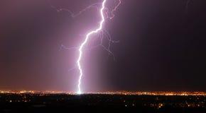 Lightening night in edmonton stock photography