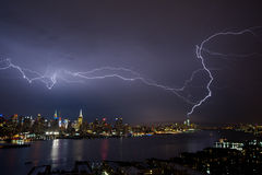 Lightening over Manhattan Royalty Free Stock Photography