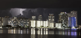 Lightening in sky over Miami Beach, Florida Royalty Free Stock Images