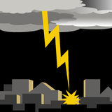 Lightening strike. Dark thunder clouds and lightening strike illustration Stock Image