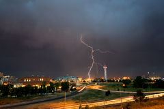 Lightening Strike Over Denver Royalty Free Stock Photos