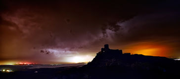 Lightening strike over Enisala fortress, Dobrogea, Romania Stock Photos