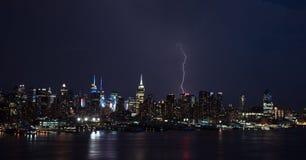 Lightening strikes Manhattan Stock Photography