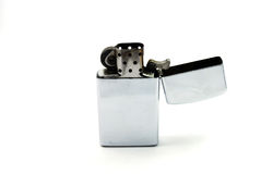 Lighter. A silver old gasoline lighter Stock Photography