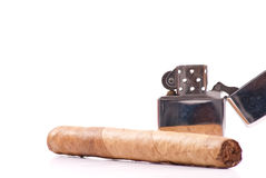 Lighter with Cigar Stock Photography