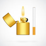 Lighter and cigarette Royalty Free Stock Image