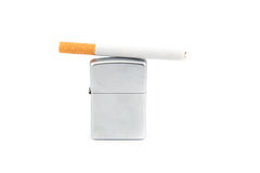 Lighter and cigarette on white background Royalty Free Stock Image