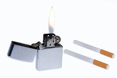 Lighter And cigarettes Stock Photos