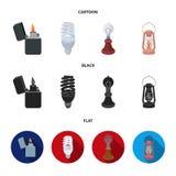 Lighter, economical light bulb, edison lamp, kerosene lamp.Light source set collection icons in cartoon,black,flat style. Vector symbol stock illustration Stock Images