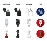 Lighter, economical light bulb, edison lamp, kerosene lamp.Light source set collection icons in cartoon,black,outline. Flat style vector symbol stock Royalty Free Stock Images