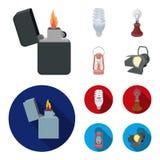 Lighter, economical light bulb, edison lamp, kerosene lamp.Light source set collection icons in cartoon,flat style. Vector symbol stock illustration Stock Images