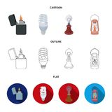 Lighter, economical light bulb, edison lamp, kerosene lamp.Light source set collection icons in cartoon,outline,flat. Style vector symbol stock illustration Stock Photos
